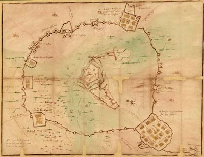 Kaart van de belegering van Groenlo in 1627