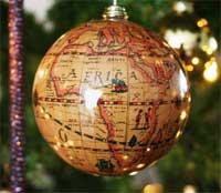 Globe als kerstbal
