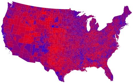 Kaart met counties ingekleurd