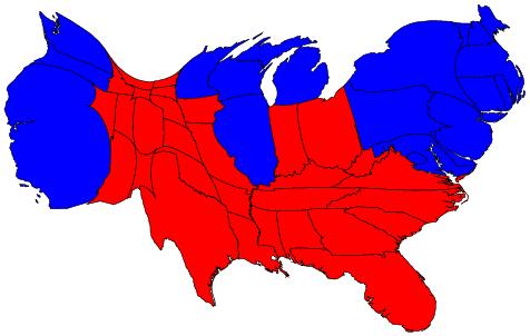 Kaart met de staten ingekleurd, vervormd naar inwoners