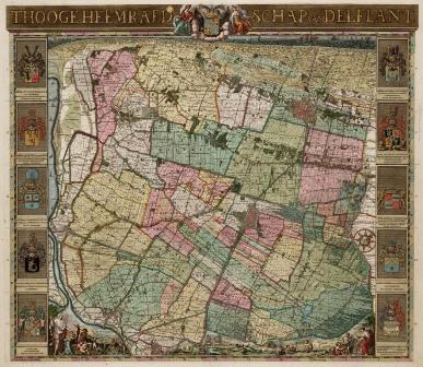 Kaart van Delfland uit 1712
