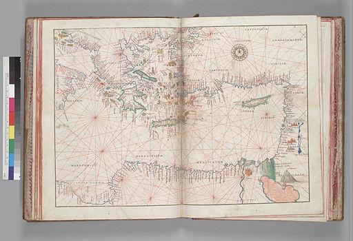 Portolaankaart van het oosten van de Middellandse zee, Battiasta Agnese, circa 1550.