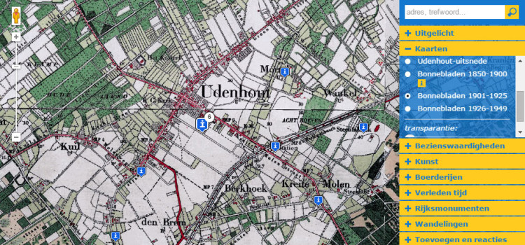 Screenshot van de website Udenhout op de Kaart
