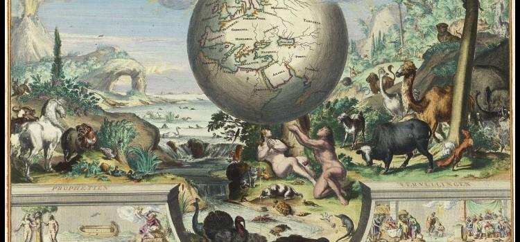Het aards paradijs, prent ingekleurd door Dirk Jansz van Santen ca. 1697, in Biblia. Dat is de gantsche H. Schrifture, Dordrecht 1682