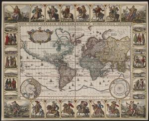 Wereldkaart van Claes Janszoon Visscher uit 1637