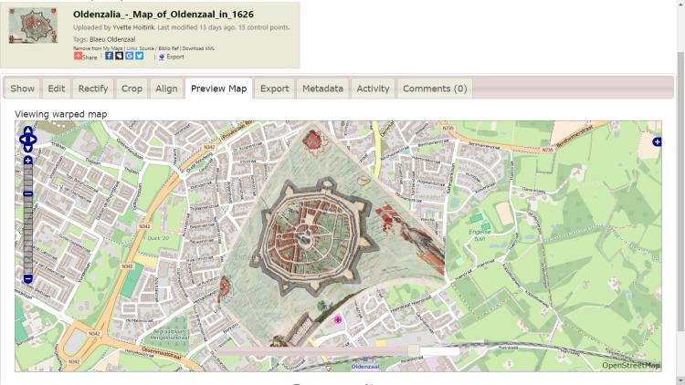 Gegeorefereerde kaart van Blaeu van Oldenzaal op Map Warper