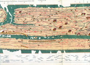 Tabula Peutingeriana, een 13de-eeuwse kopie van een Romeinse wegenkaart uit 3de eeuw na Chr (herdruk) Foto: Rijksmuseum van Oudheden, origineel in Nationale Bibliotheek Wenen