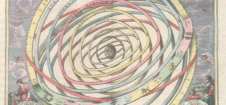 Zonnestelsel in atlas van Cellarius