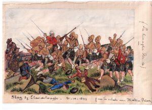 W.F. Mondriaan, Tekening van W.F. Mondriaan van de slag bij Elandslaagte, 1899. Particuliere collectie