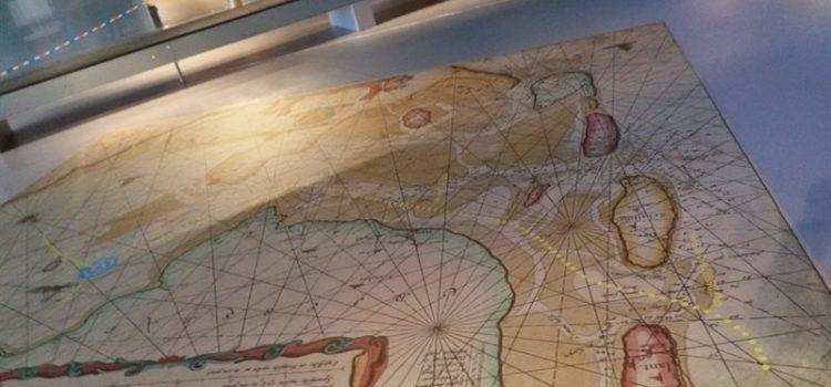 Kaart van de Zuiderzee om de route van de tjalk te zoeken