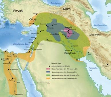 Kaart van het Nieuw-Assyrische rijk © Sémhur Wikimedia Commons