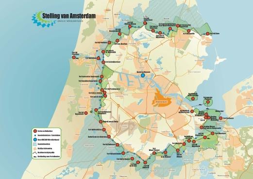 Kaart Stelling van Amsterdam