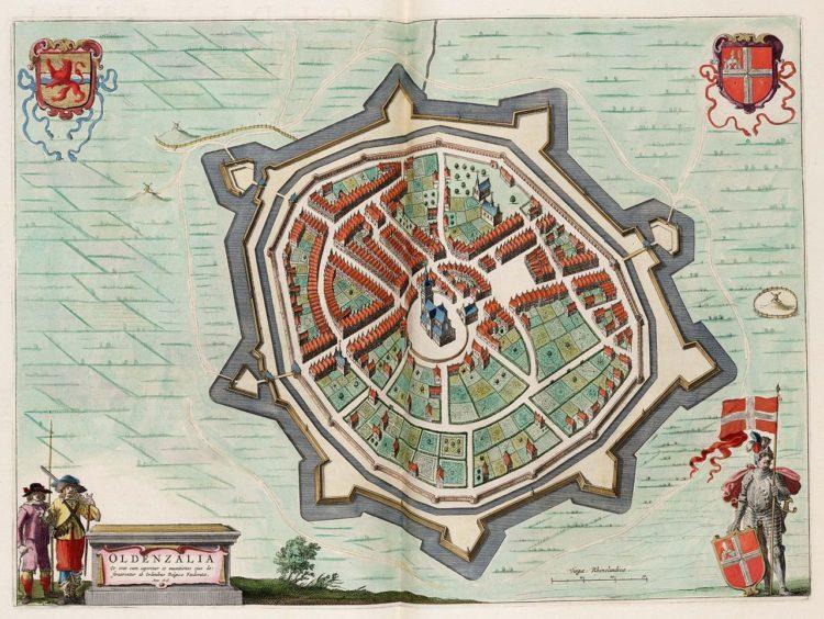 Kaart van Oldenzaal in 1626, Joannes Blaeu in 1649