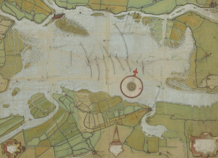 Kaart uit 1560 van de verdronken Groote Waard (de huidige Biesbosch en het Eiland van Dordrecht) door Pieter Sluyter