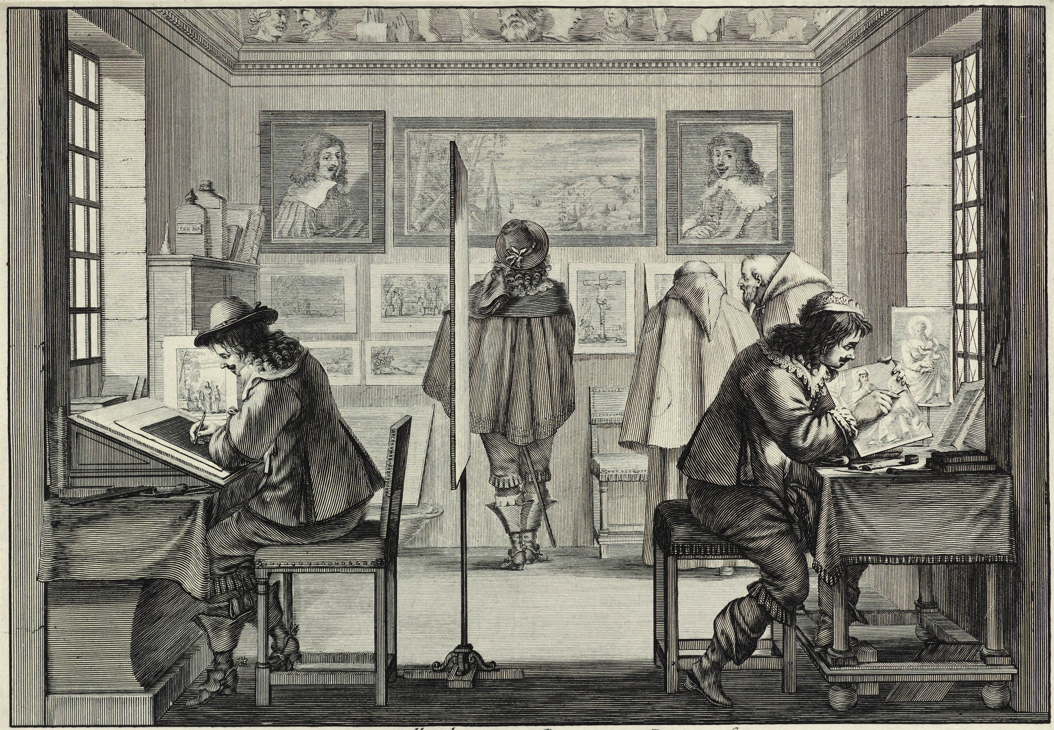 Abraham Bosse (French, 1602 - 1676), Engravers, 1642, etching, Rosenwald Collection 1948.11.35