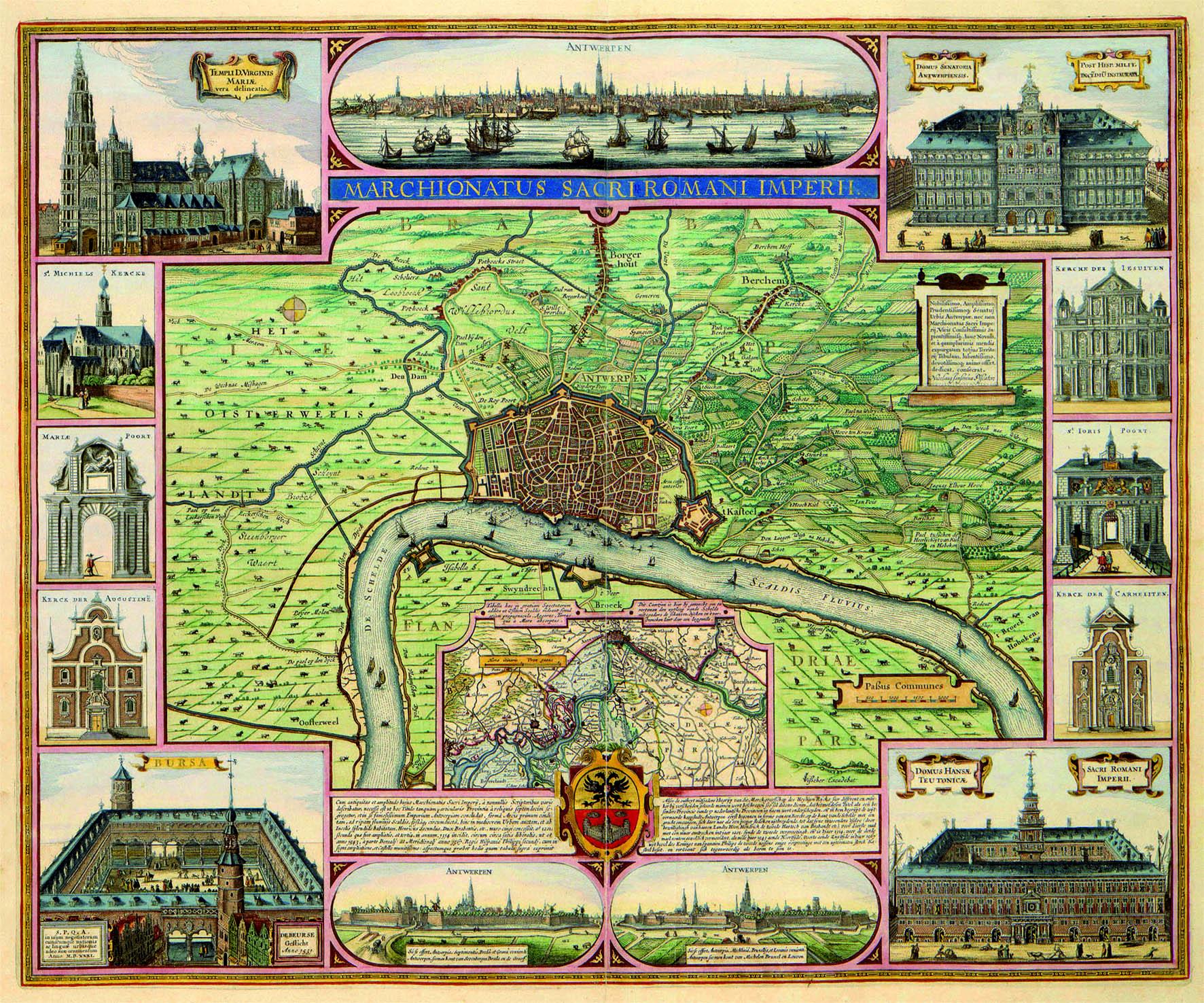 Door Claes Jansz. Visscher in 1634 uitgegeven kaart van het Markgraafschap van het Heilige Roomse Rijk met centraal plattegrond van Antwerpen