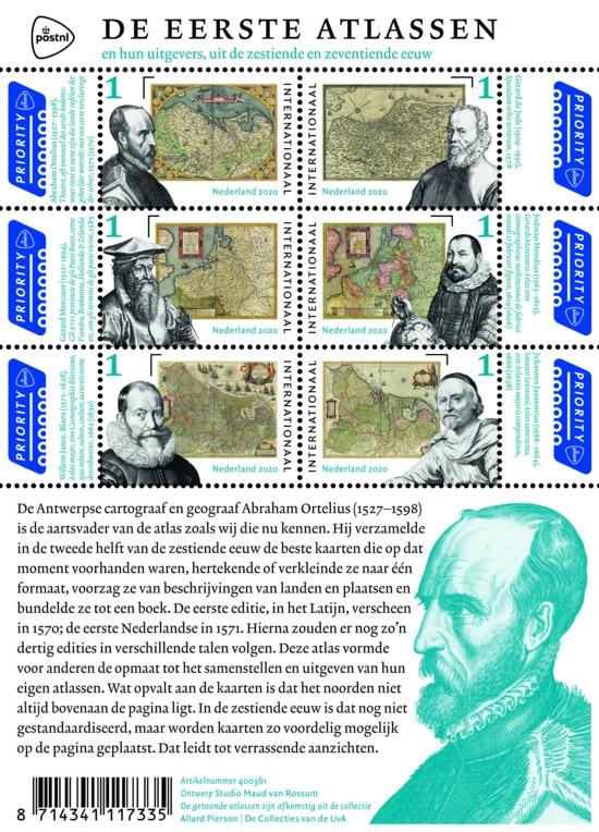 Het postzegelvel de eerste atlassen