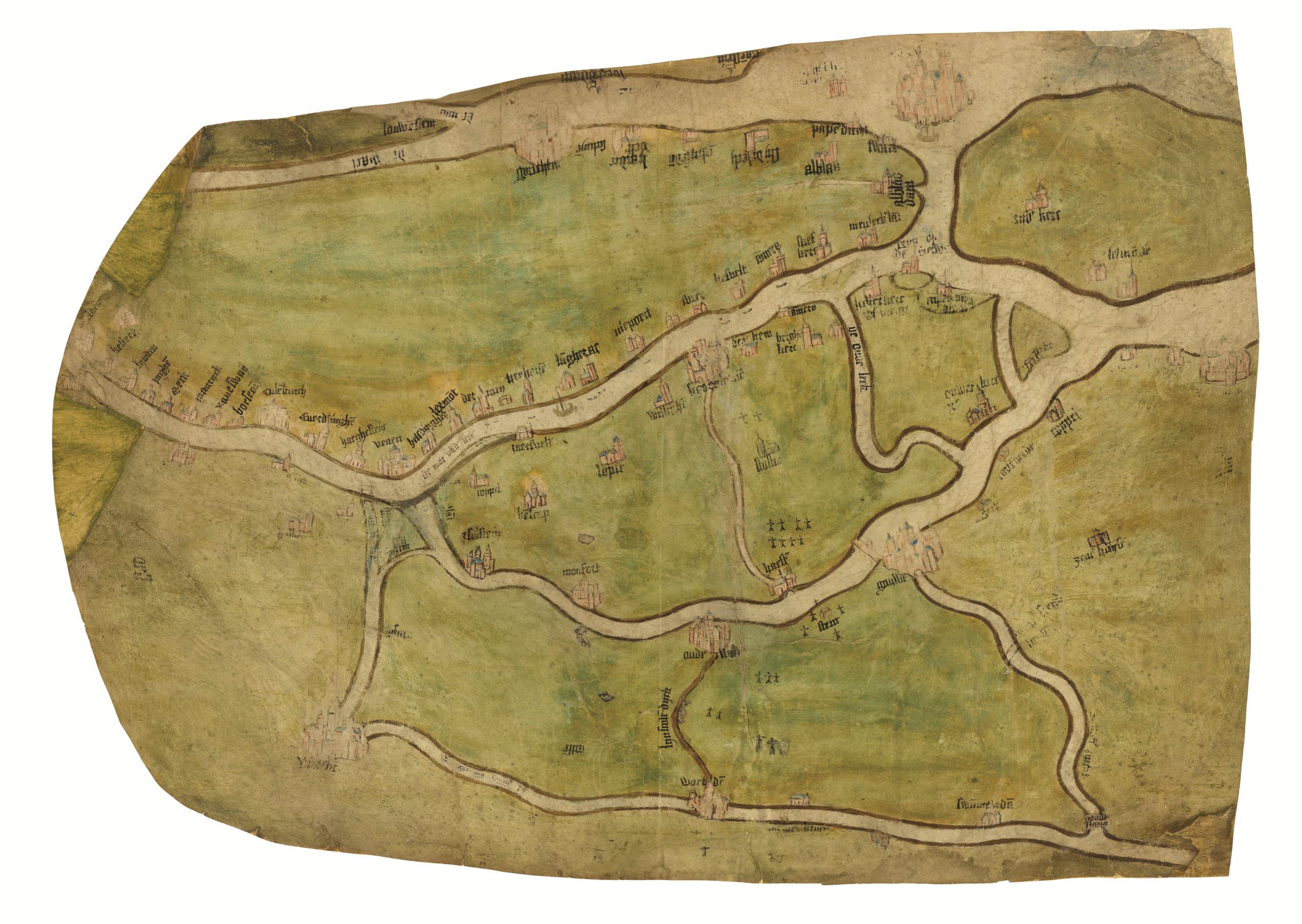 Kaart van de loop van de Rijn, Waal, Lek, Merwede en Maas, circa 1500. Nationaal Archief, op perkament