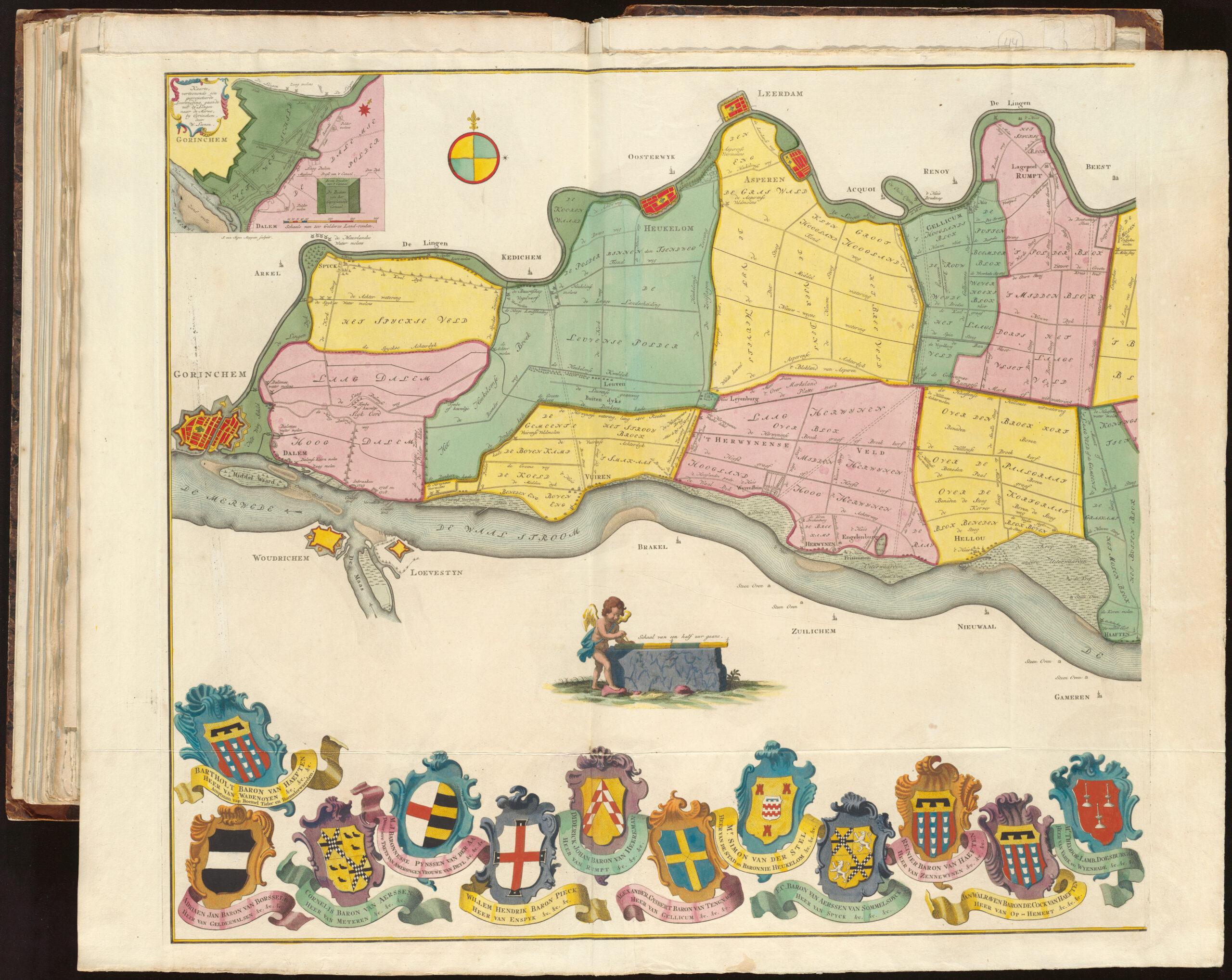 Gedeelte van de landkaart van de Thieler Waard. opgedragen aan de Heeren, wier naamen en wapenen onder deze kaart gesteld zijn.