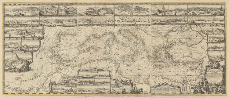 Romeyn de Hooghe,Carte Nouvelle de la Mer Mediterrannée où sont exactement remarqués tout les ports, golfes, rochers, bancs de sable &c. Amsterdam, J. Covens & C. Mortier, ca. 1742. [COLLBN 007-06-030].