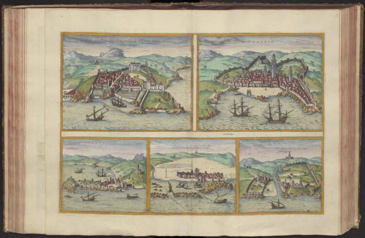 Georg Braun & Frans Hogenberg, Civitates Orbis Terrarum. Antwerpen, Aegidium Radeum, 1575, hierin: Tingis Lusitanis, Tangiara; Tzaffin; Septa; Arzilla; Sala, oftewel Tanger, Tzaffin, Septa, Arzilla en Salé. [COLLBN Atlas 45: 1, kaart 57].