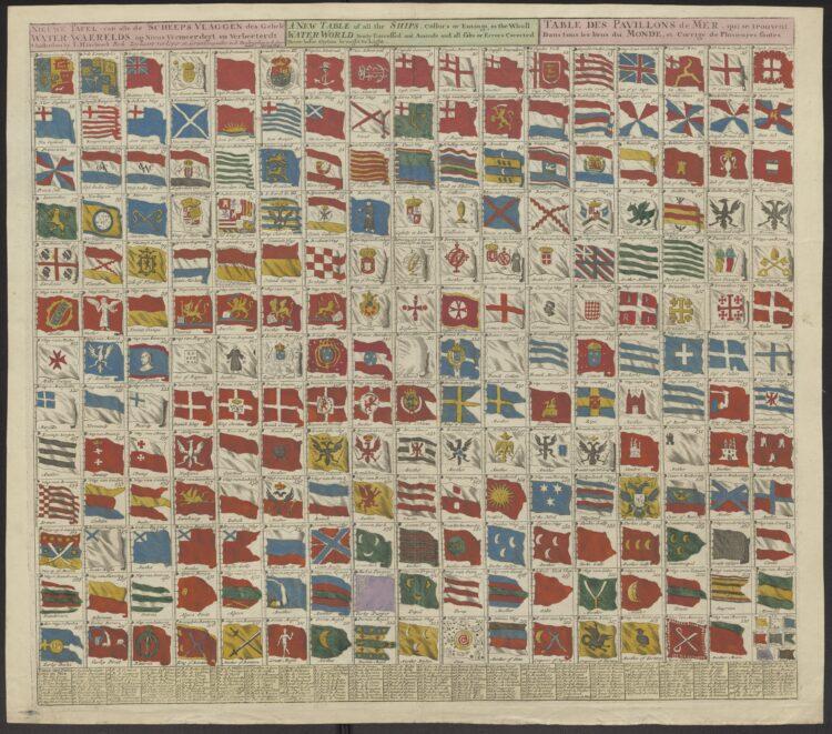 Joachim Haseboek - Nieuwe Tafel van alle de Scheepsvlaggen des Gehele Water Waerelds. Amsterdam, I. Hasebroek ca. 1725. [COLLBN Port 144 N 151]. Schepen en galeien