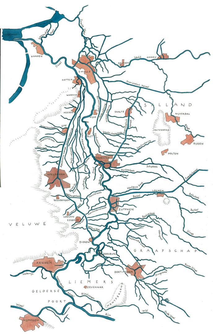 Kaart van het stroomgebied van de IJssel