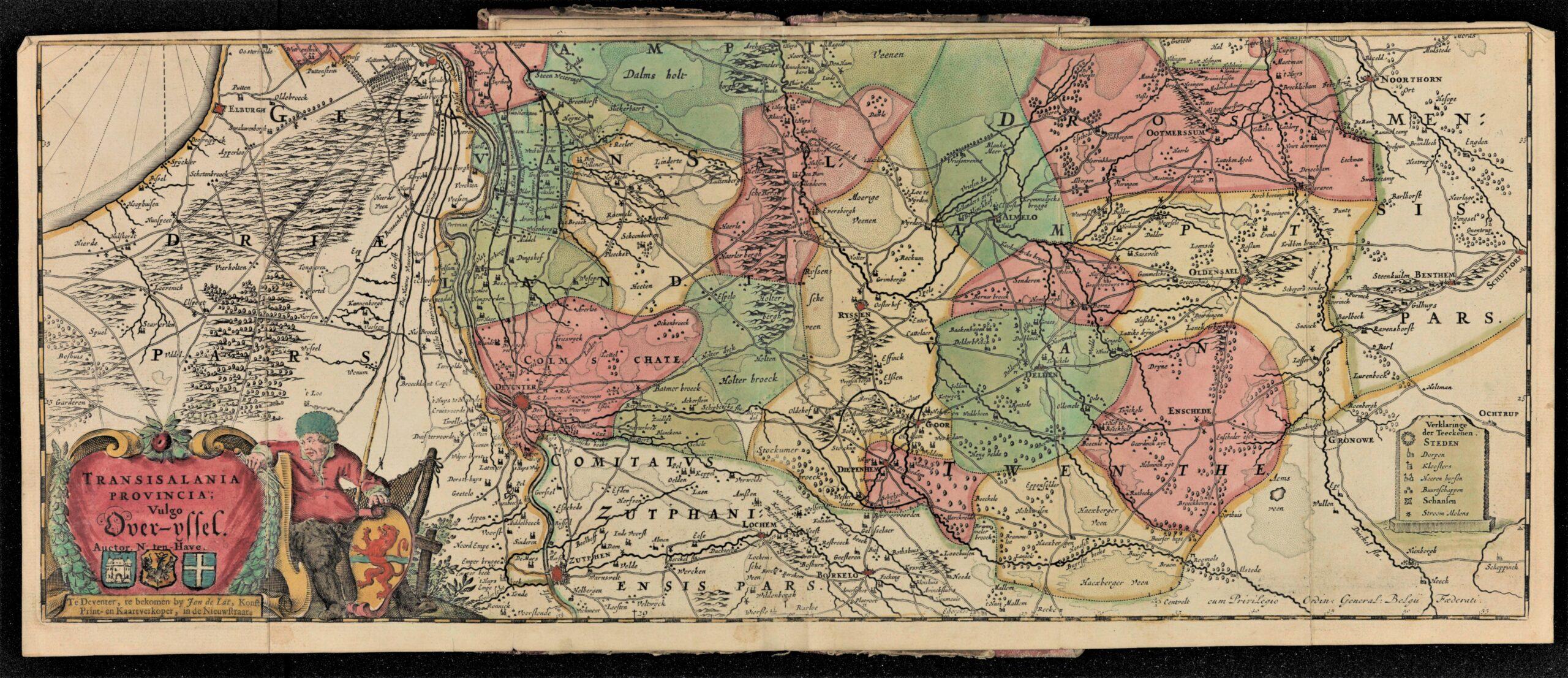3.Kaart van Overijssel in Weghwyser door de provintie van Overyssel (Deventer: Jan de Lat, 1724). Signatuur: Deventer, AB, BORG 776