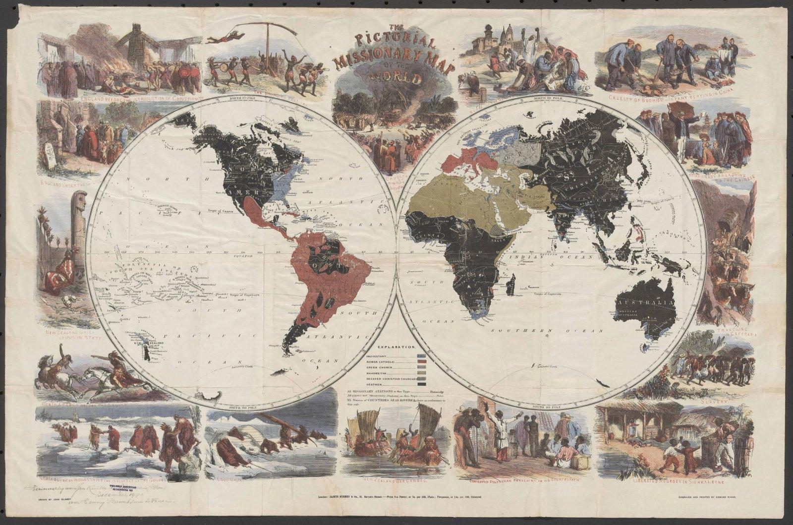 The pictorial missionary map of the world' door John Gilbert, 1861 (niet in de digitale tentoonstelling).
