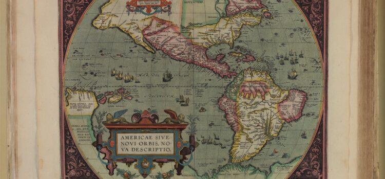 Kaart van Amerika in Theatrum orbis terrarum (Antwerpen, Plantijn, 1612). Signatuur: Deventer, Athenaeumbibliotheek, 3004 H 1 KL
