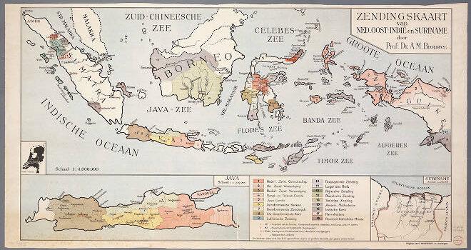 Zendingskaart van Ned. Oost-Indië en Suriname / door A.M. Brouwer, ca. 1900