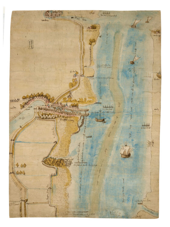 Kaart uit 1536 van Delfshaven