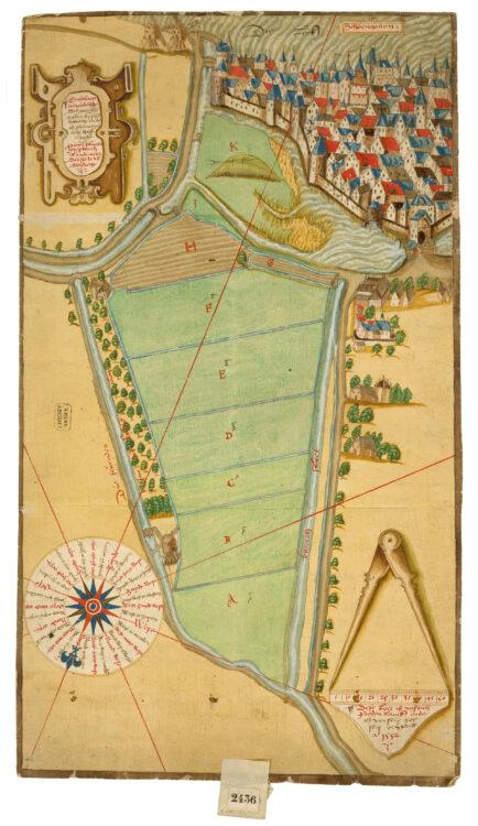 Kaart van Schoonhoven, gelegen aan de Lek (boven), alsmede de plek van 'dat oude slot' en het Hofland, dat bij het slot hoorde, getekend door Pieter Sluyter, 1552